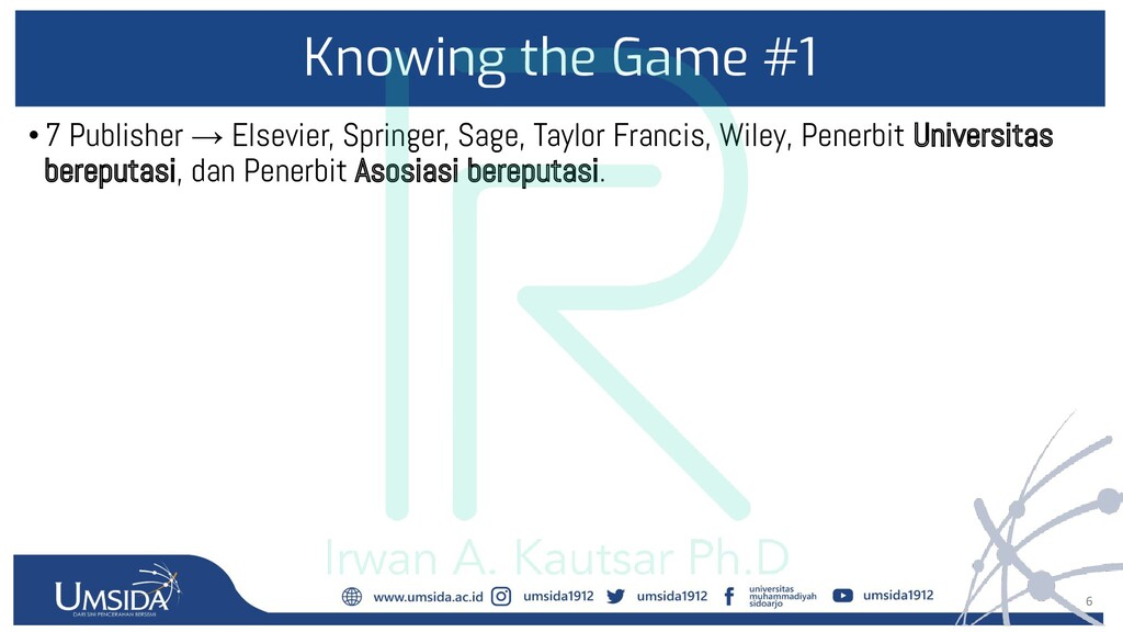 6 Knowing the Game #1 •7 Publisher → Elsevier, ...