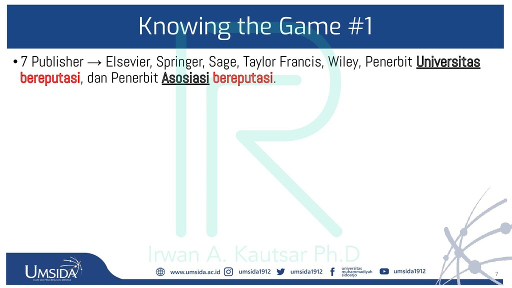 7 Knowing the Game #1 •7 Publisher → Elsevier, ...