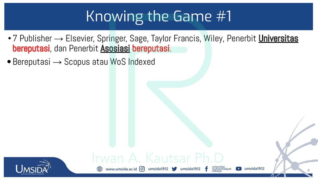 8 Knowing the Game #1 •7 Publisher → Elsevier, ...