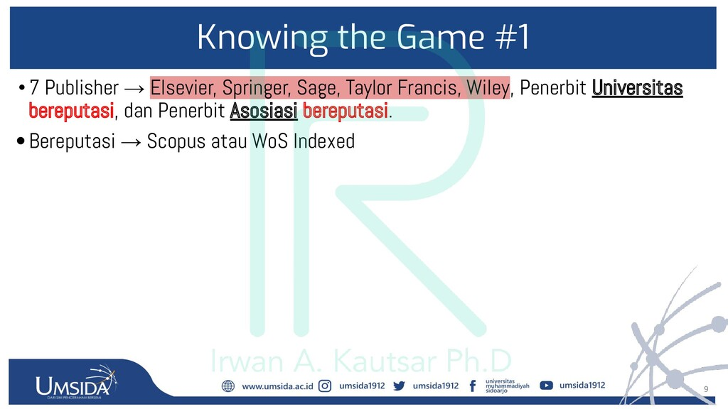 9 Knowing the Game #1 •7 Publisher → Elsevier, ...