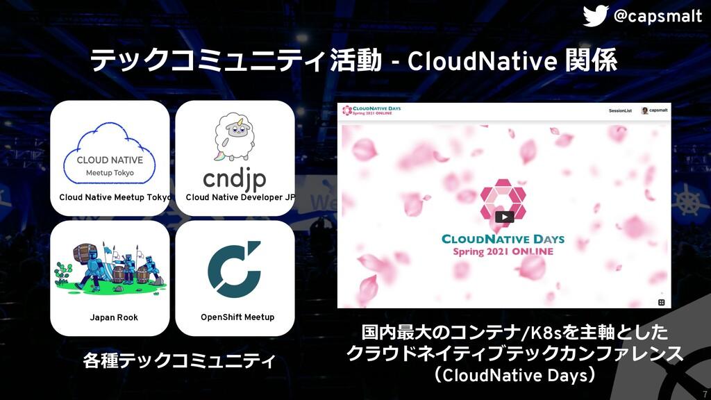 テックコミュニティ活動 - CloudNative 関係 国内最⼤のコンテナ/K8sを主軸とし...