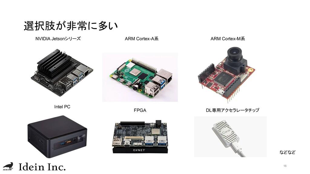 選択肢が非常に多い 16 NVIDIA Jetsonシリーズ ARM Cortex-A系 AR...
