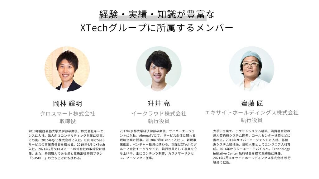 経験・実績・知識が豊富な XTechグループに所属するメンバー 升井 亮 イークラウド株式会社...