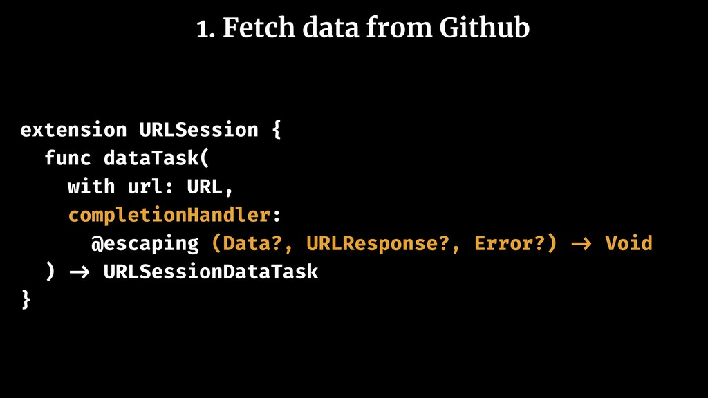 1. Fetch data from Github extension URLSession ...