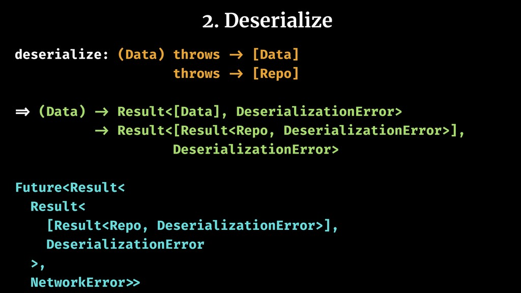 2. Deserialize deserialize: (Data) throws -> [D...
