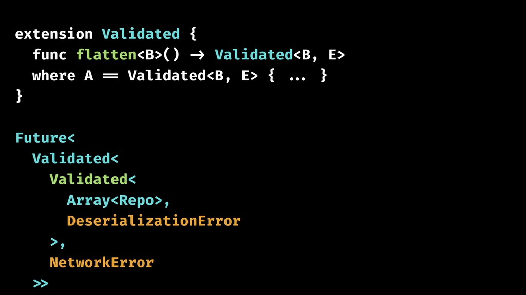 extension Validated { func flatten<B>() -> Vali...
