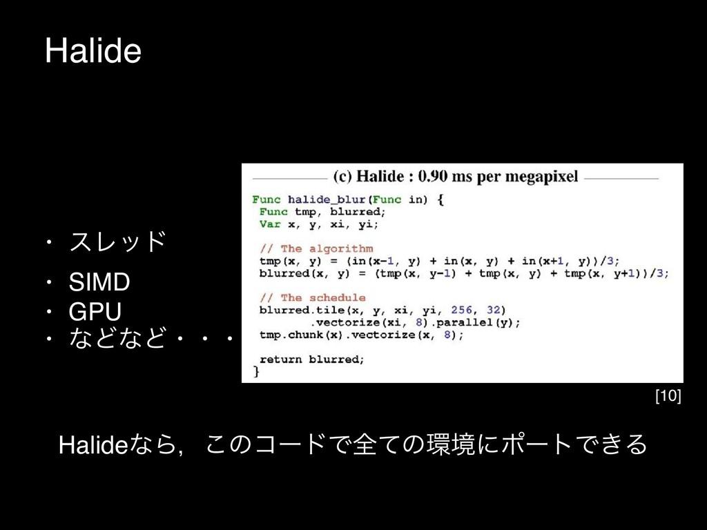 Halide HalideͳΒɼ͜ͷίʔυͰશͯͷڥʹϙʔτͰ͖Δ [10] • εϨου ...