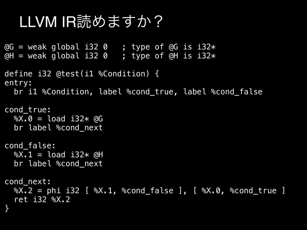 LLVM IRಡΊ·͔͢ʁ @G = weak global i32 0 ; type of ...