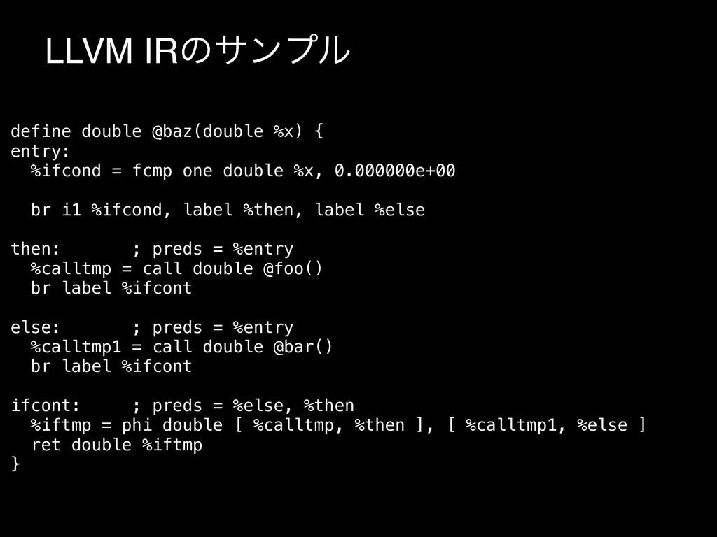 LLVM IRͷαϯϓϧ define double @baz(double %x) { en...