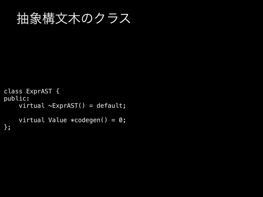 நߏจͷΫϥε class ExprAST { public: virtual ~Expr...