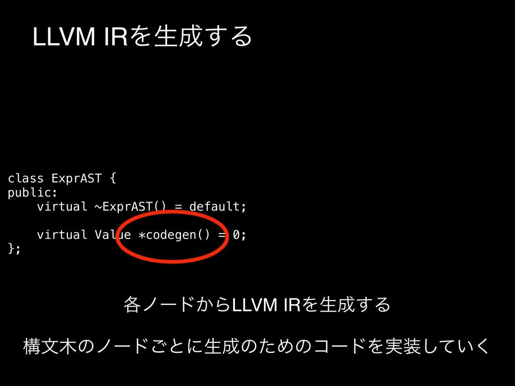 LLVM IRΛੜ͢Δ class ExprAST { public: virtual ~E...