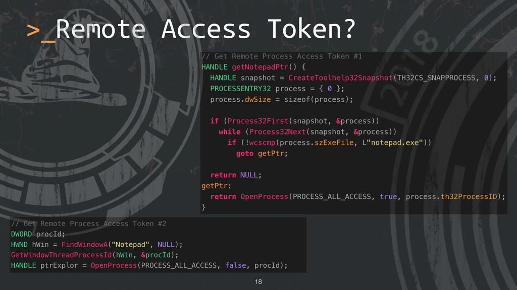 !18 >_Remote Access Token?
