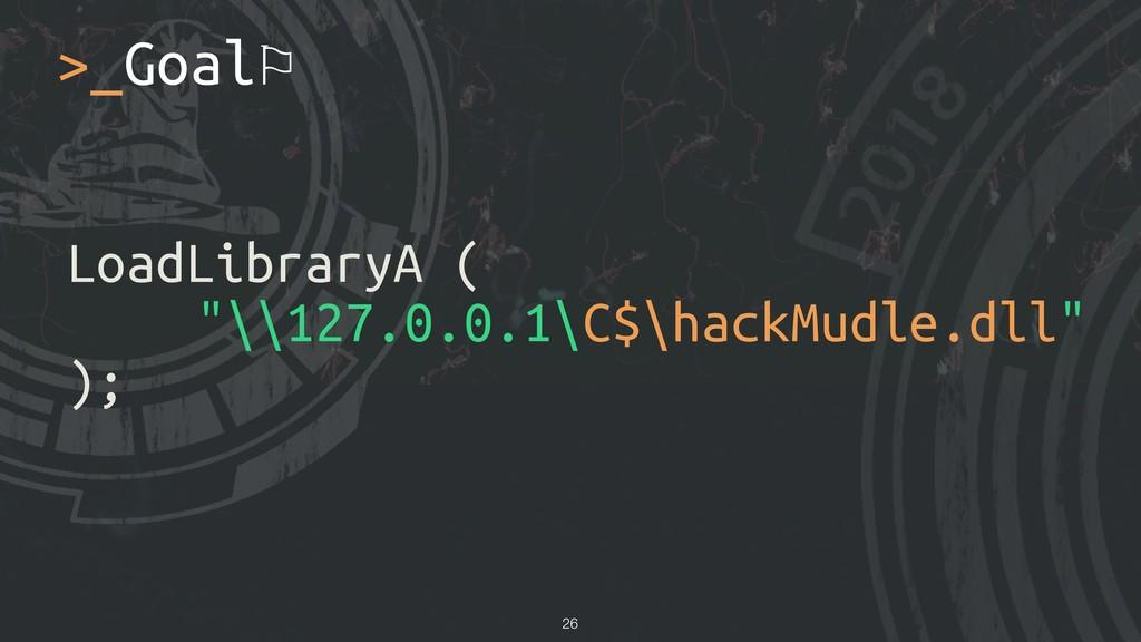 "LoadLibraryA ( ""\\127.0.0.1\C$\hackMudle.dll"" )..."