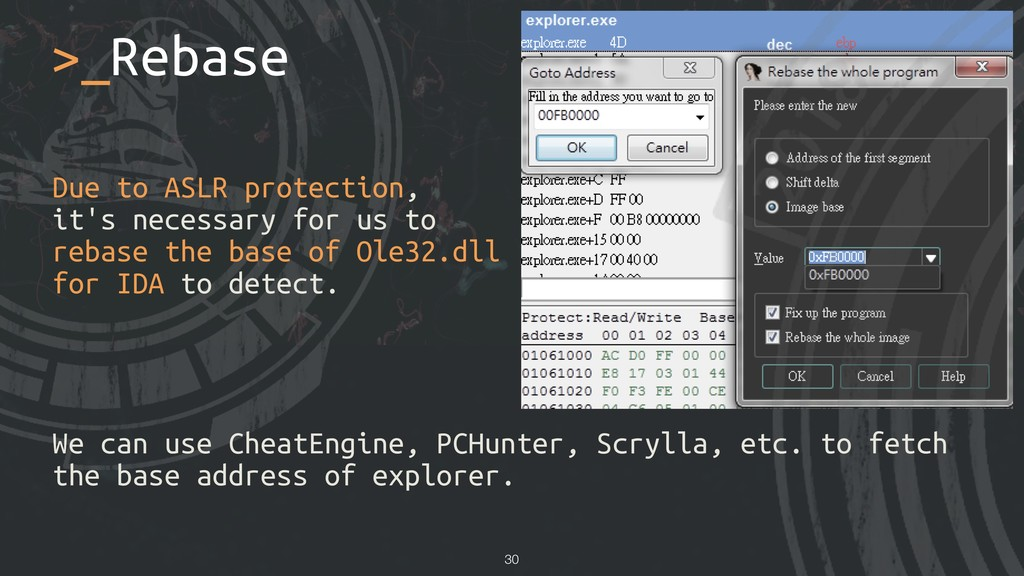 >_Rebase !30 Due to ASLR protection, it's neces...
