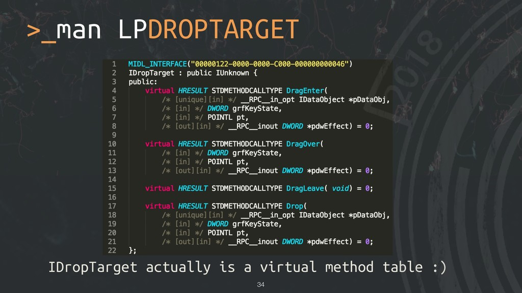 >_man LPDROPTARGET IDropTarget actually is a vi...