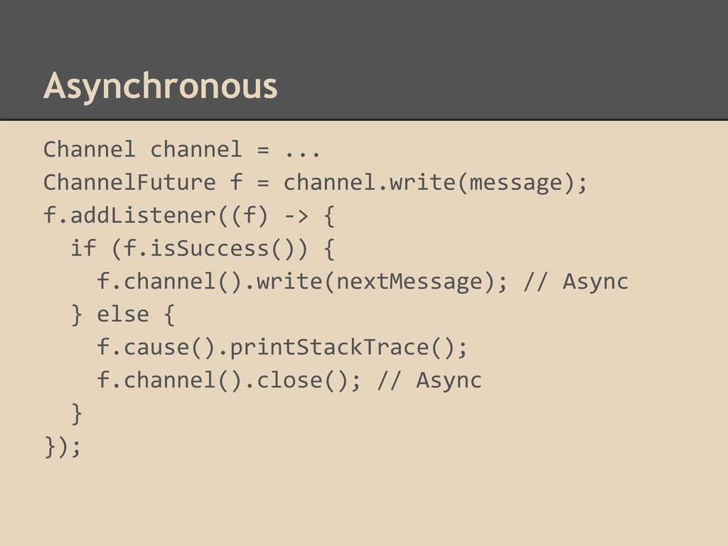 Asynchronous Channel channel = ... ChannelFutur...