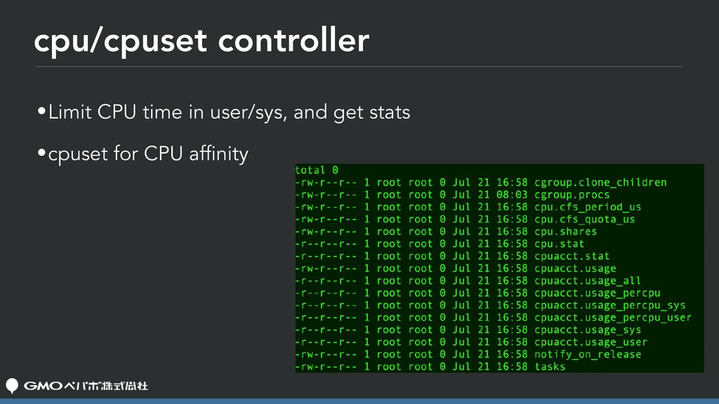 cpu/cpuset controller •Limit CPU time in user/s...