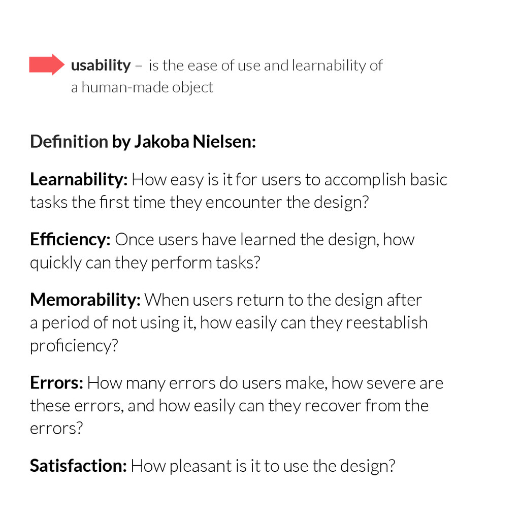 usability – is the ease of use and learnability...