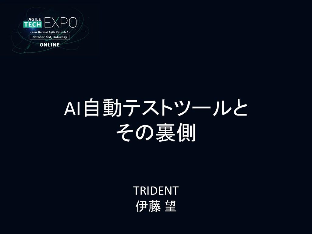 AI自動テストツールと その裏側 TRIDENT 伊藤 望