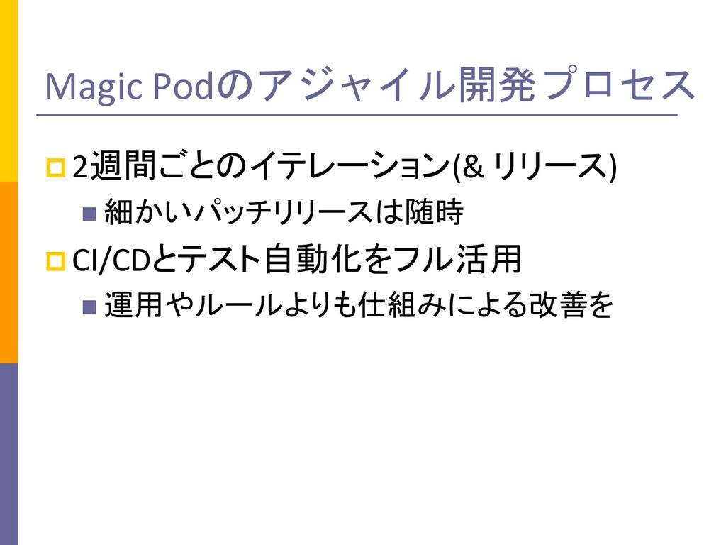 Magic Podのアジャイル開発プロセス p2週間ごとのイテレーション(& リリース) n ...