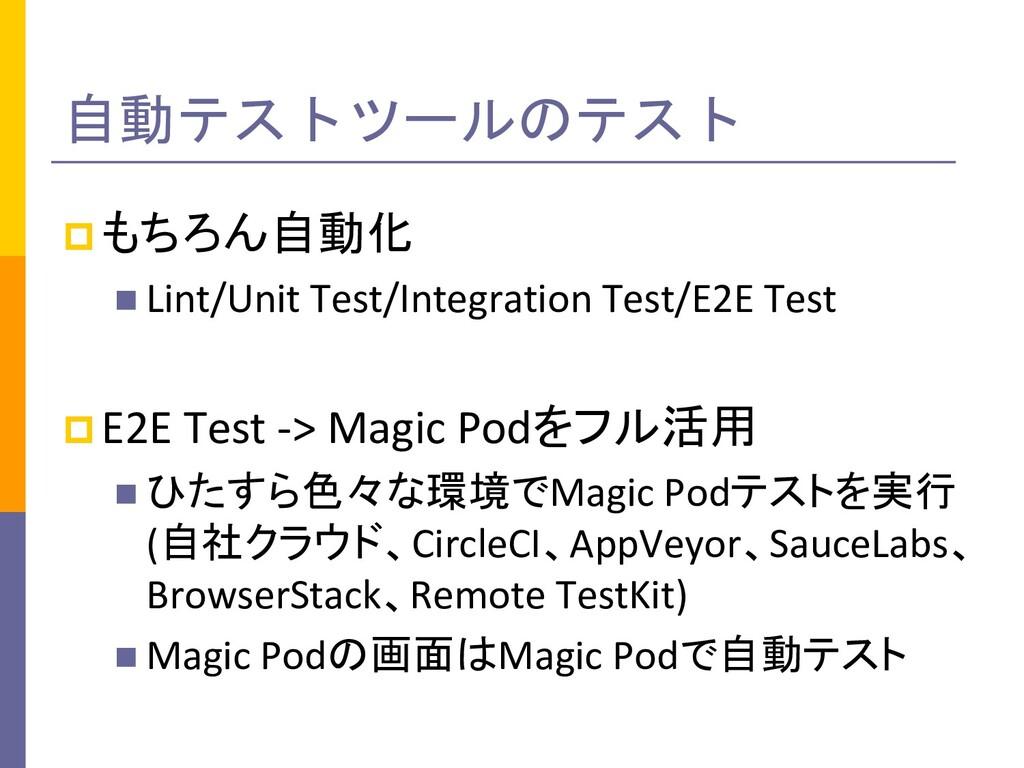 自動テストツールのテスト pもちろん自動化 n Lint/Unit Test/Integrat...