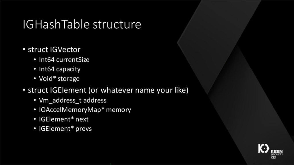 IGHashTable structure • struct IGVector • Int64...