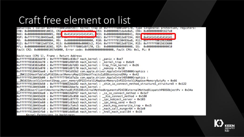 Craft free element on list