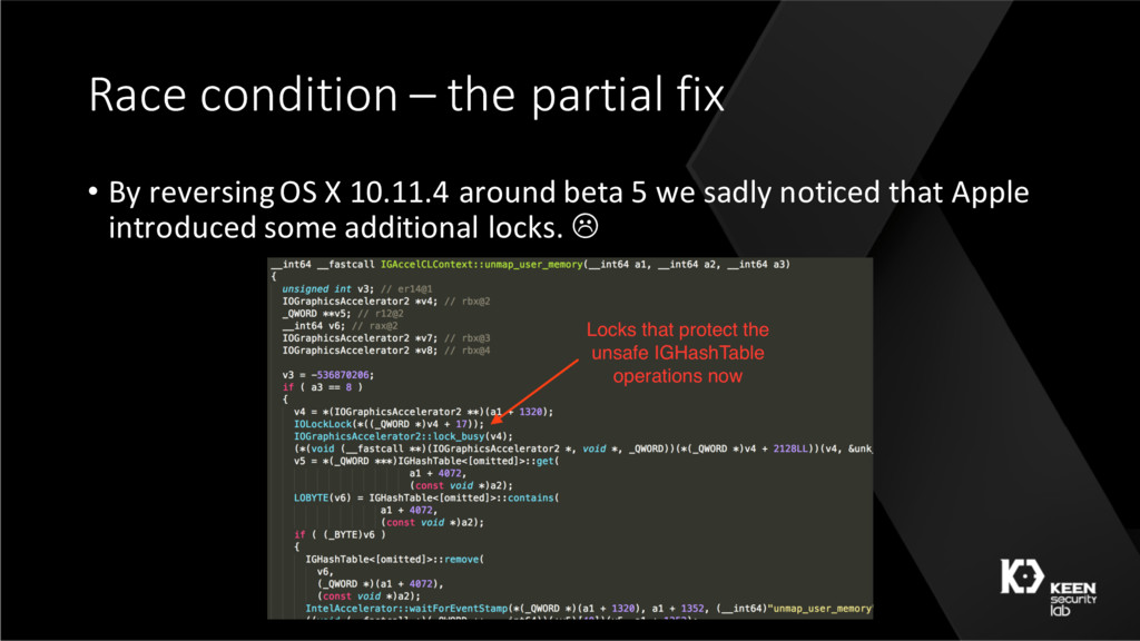 Race condition – the partial fix • By reversing...