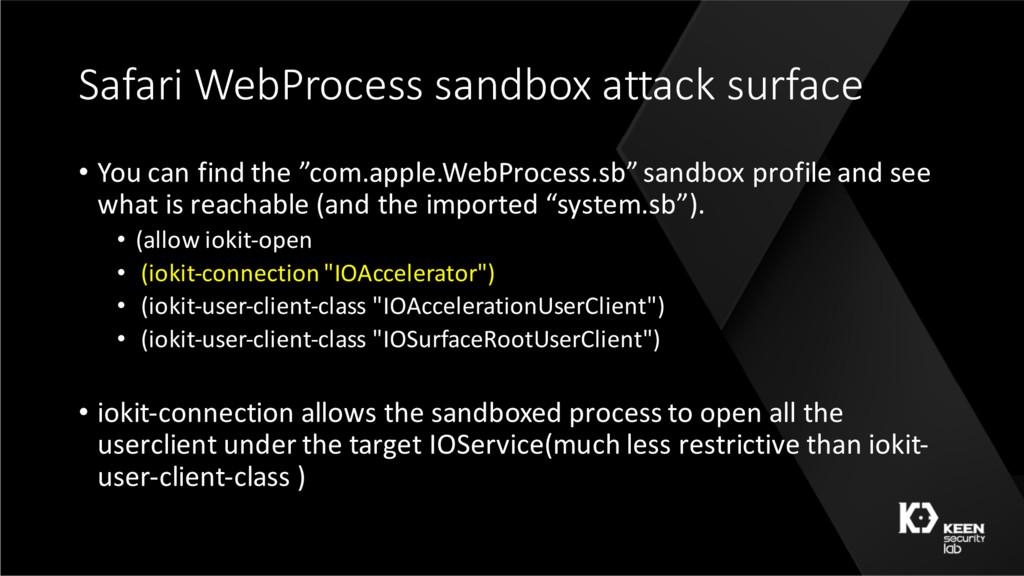 Safari WebProcess sandbox attack surface • You ...