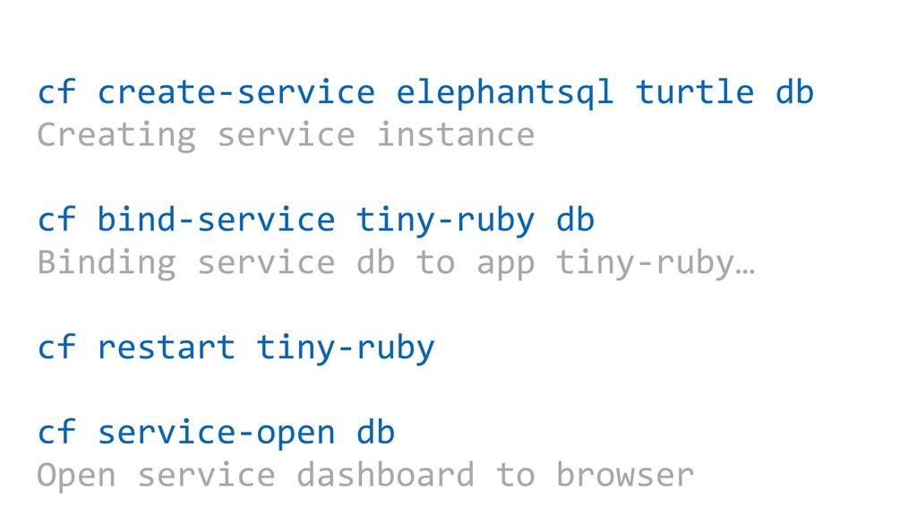 cf create-service elephantsql turtle db Creatin...
