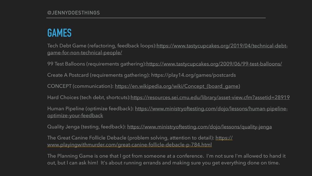 @JENNYDOESTHINGS GAMES Tech Debt Game (refactor...