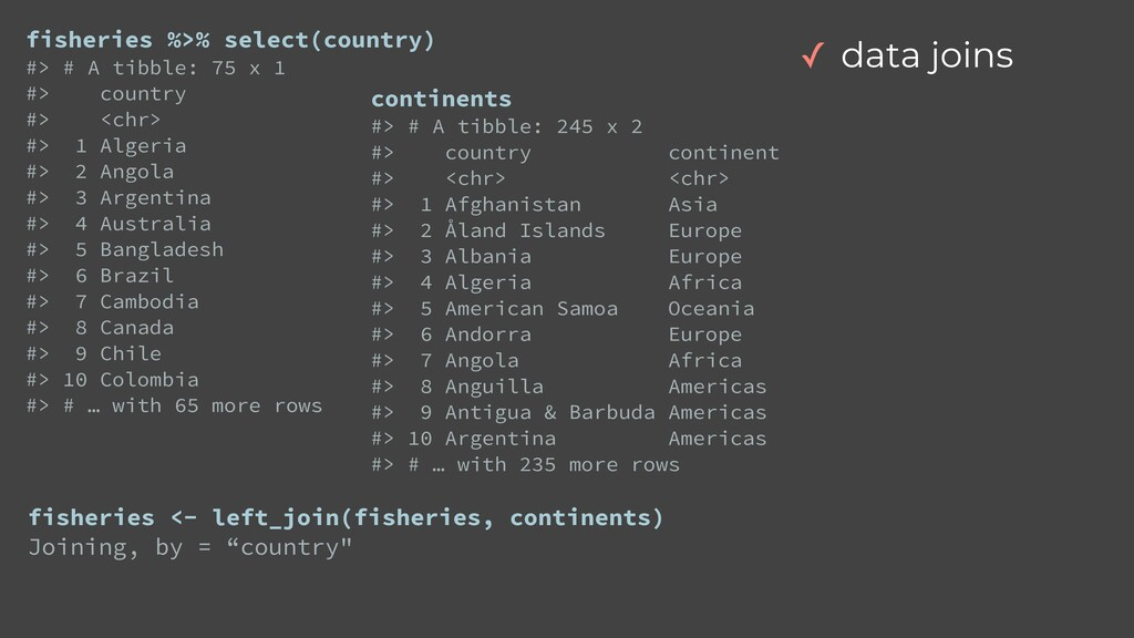 fisheries %>% select(country)   #> # A tibble: ...