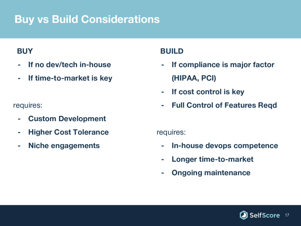 Buy vs Build Considerations BUY - If no dev/tec...