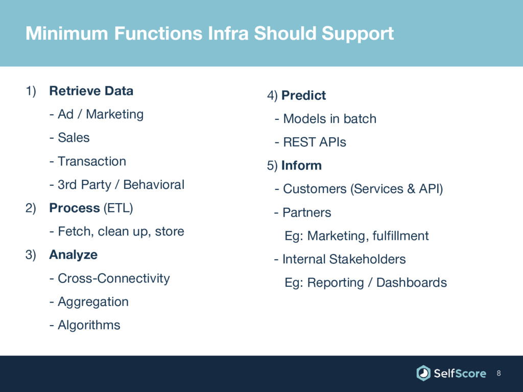 Minimum Functions Infra Should Support 1) Retri...