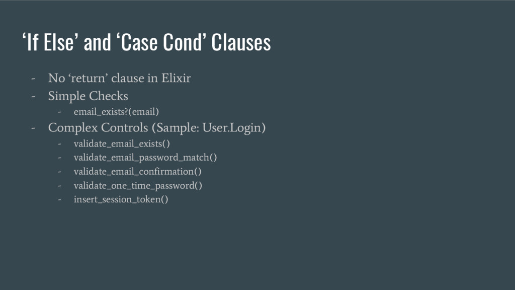 'If Else' and 'Case Cond' Clauses - No 'return'...