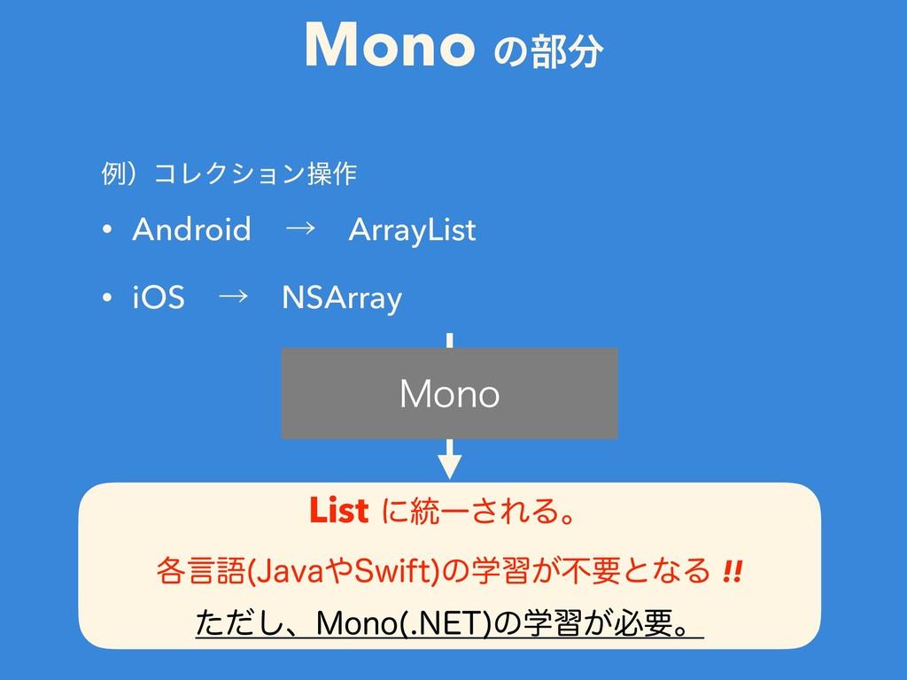Mono ͷ෦ ྫʣίϨΫγϣϯૢ࡞ • AndroidɹˠɹArrayList • iOS...