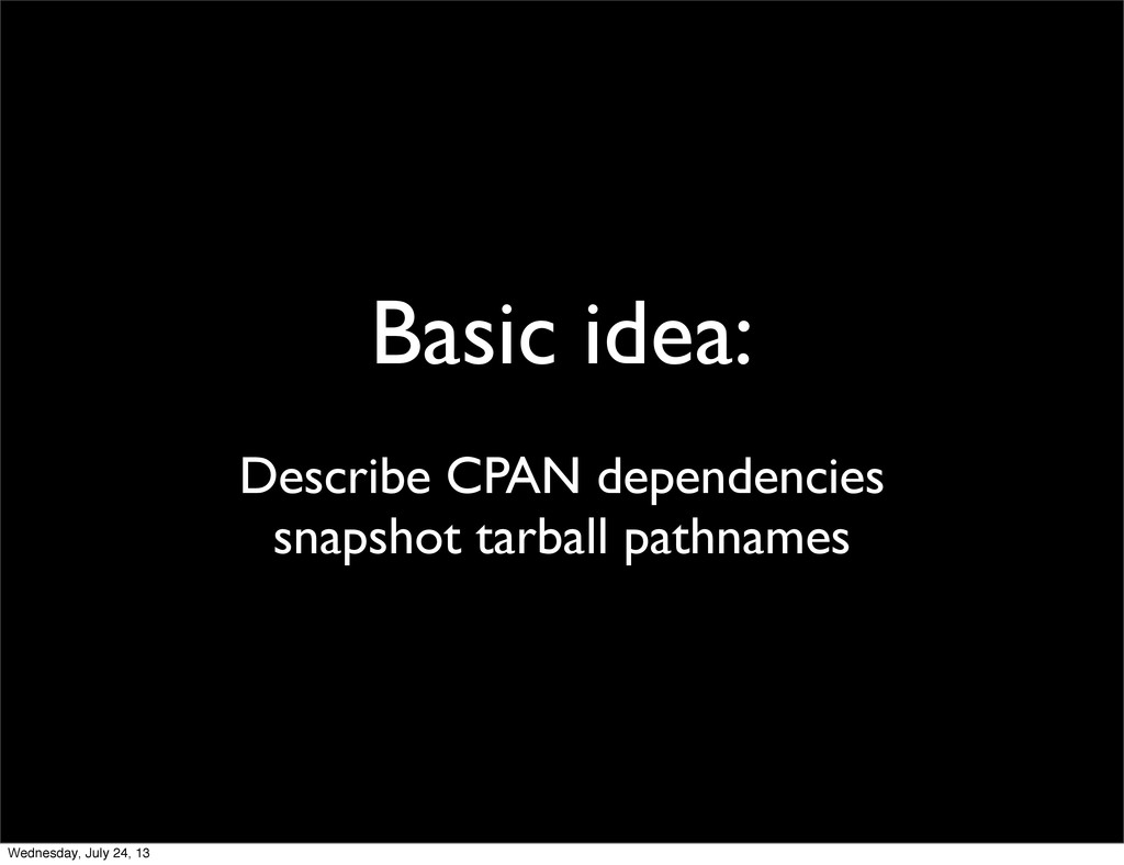 Basic idea: Describe CPAN dependencies snapshot...