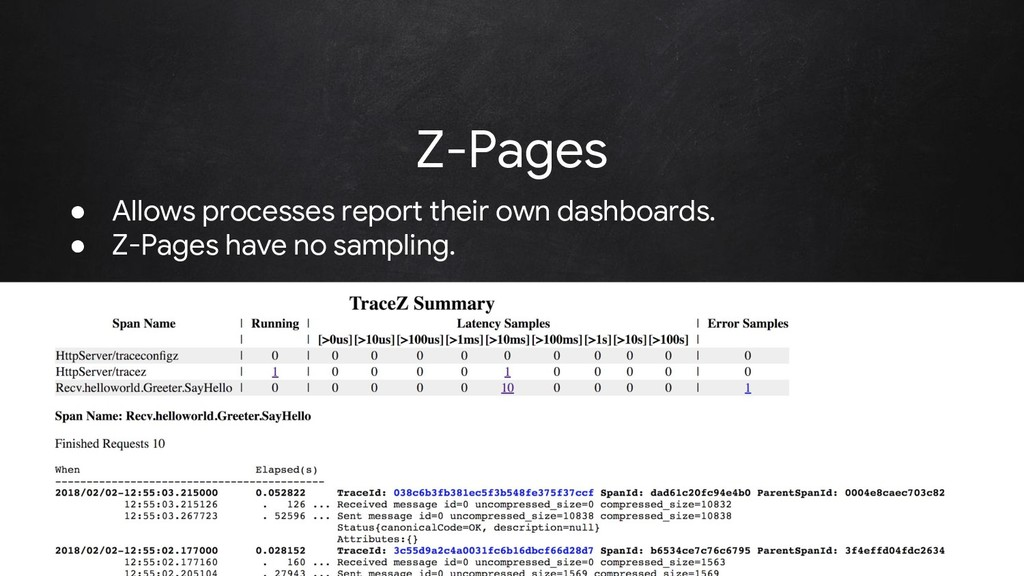 @rakyll Z-Pages ● Allows processes report their...