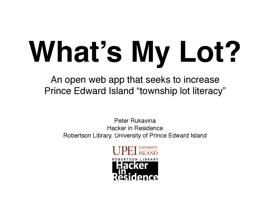 What's My Lot? An open web app that seeks to in...