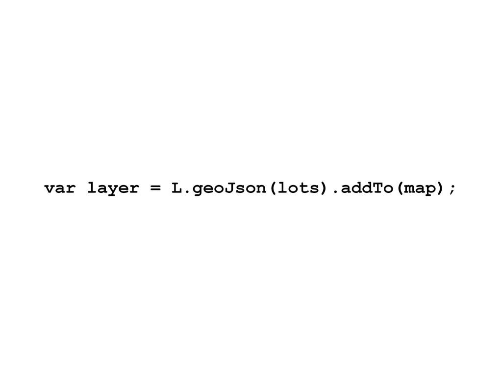 var layer = L.geoJson(lots).addTo(map);