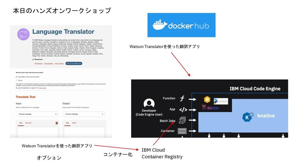 Watson Translatorを使った翻訳アプリ コンテナー化 IBM Cloud Con...