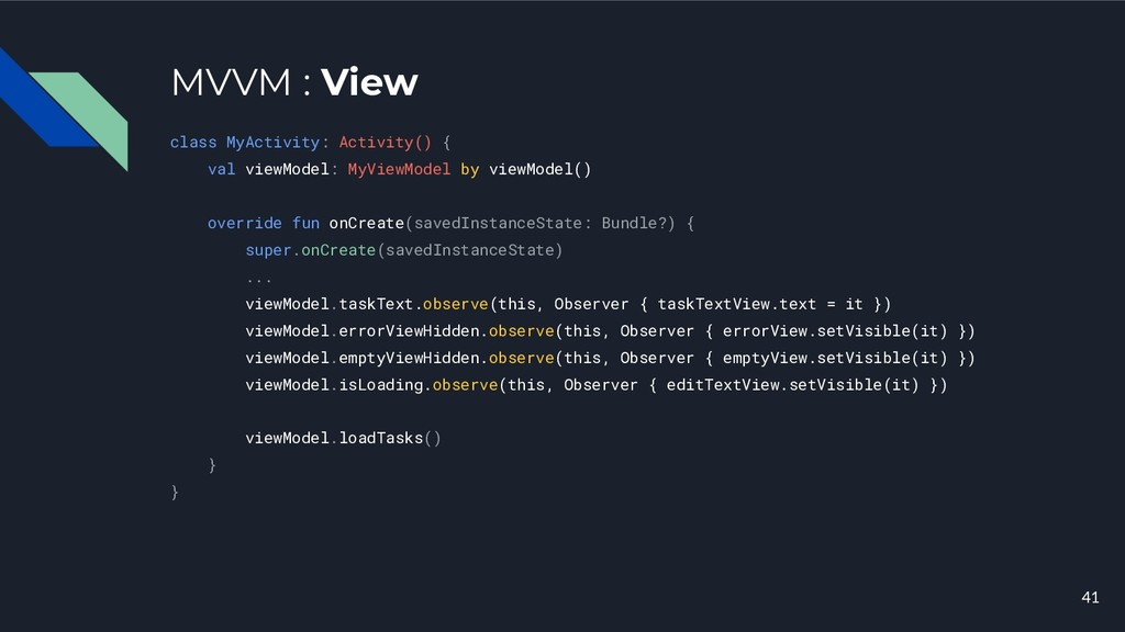 MVVM : View class MyActivity: Activity() { val ...