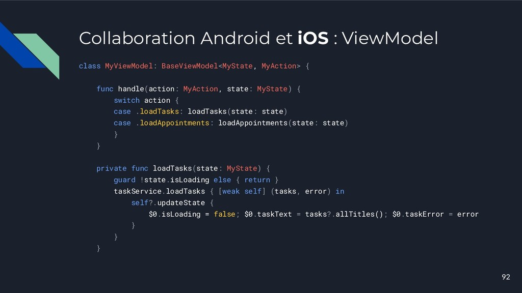 Collaboration Android et iOS : ViewModel class ...