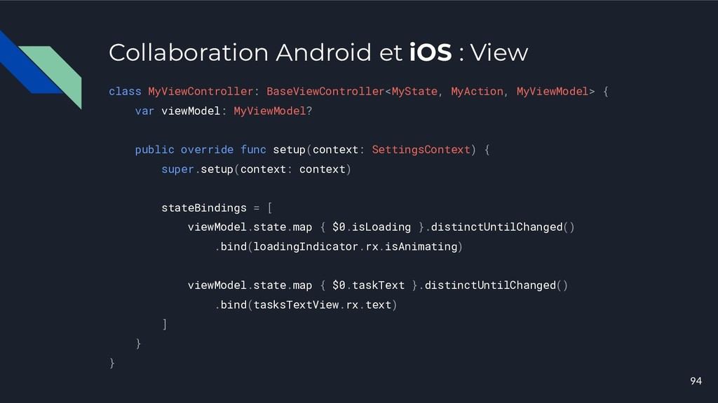 Collaboration Android et iOS : View class MyVie...