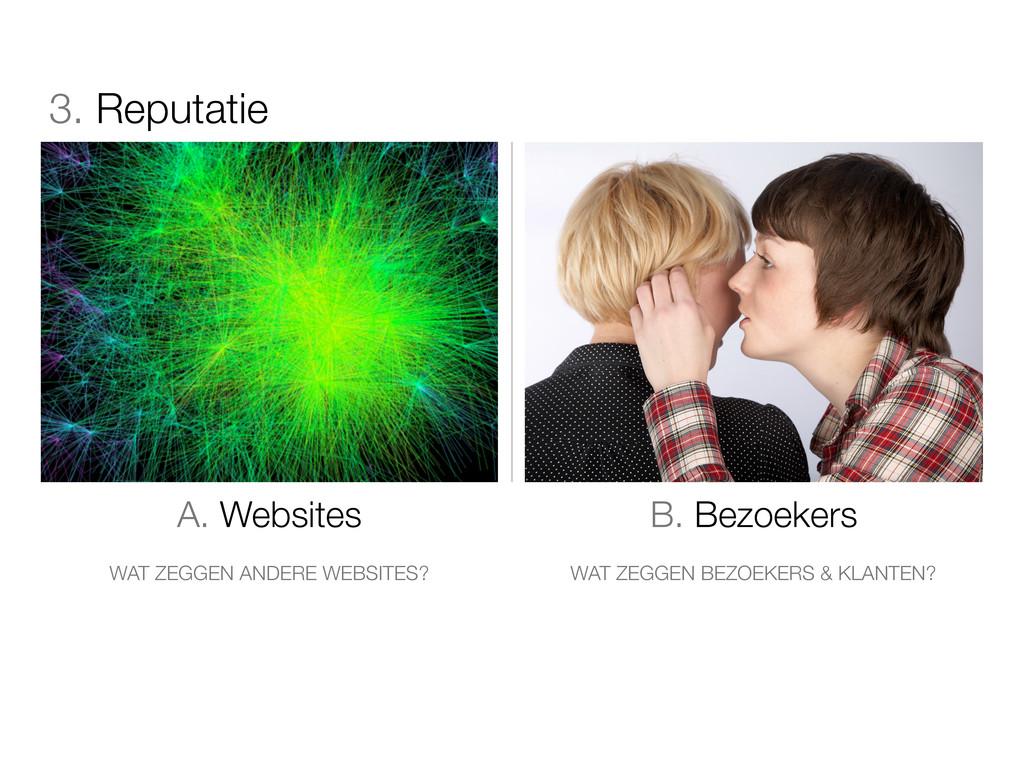 3. Reputatie A. Websites B. Bezoekers WAT ZEGGE...