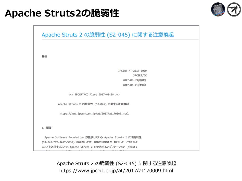 Apache Struts2の脆弱性 Apache Struts 2 の脆弱性 (S2-045...
