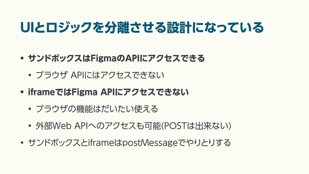 UIとロジックを分離させる設計になっている • サンドボックスはFigmaのAPIにアクセスで...