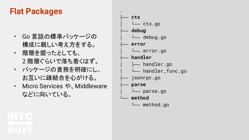 Flat Packages • Go 言語の標準パッケージの 構成に親しい考え方をする。 • ...