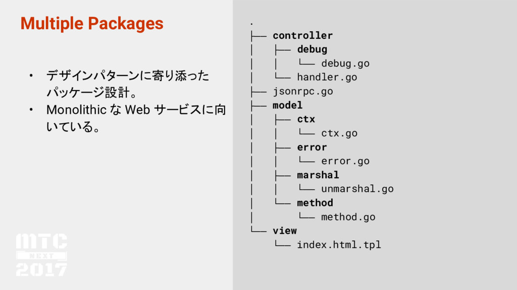 Multiple Packages • デザインパターンに寄り添った パッケージ設計。 • M...