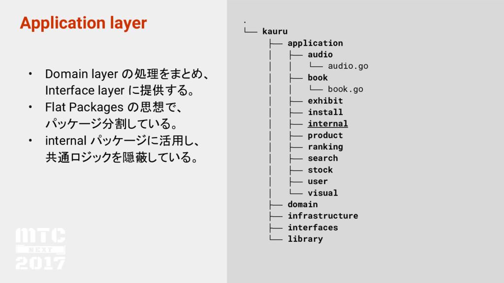 Application layer • Domain layer の処理をまとめ、 Inter...